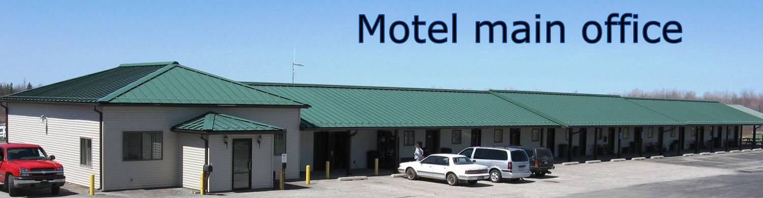 Motel Main Office, building 100 and parking area